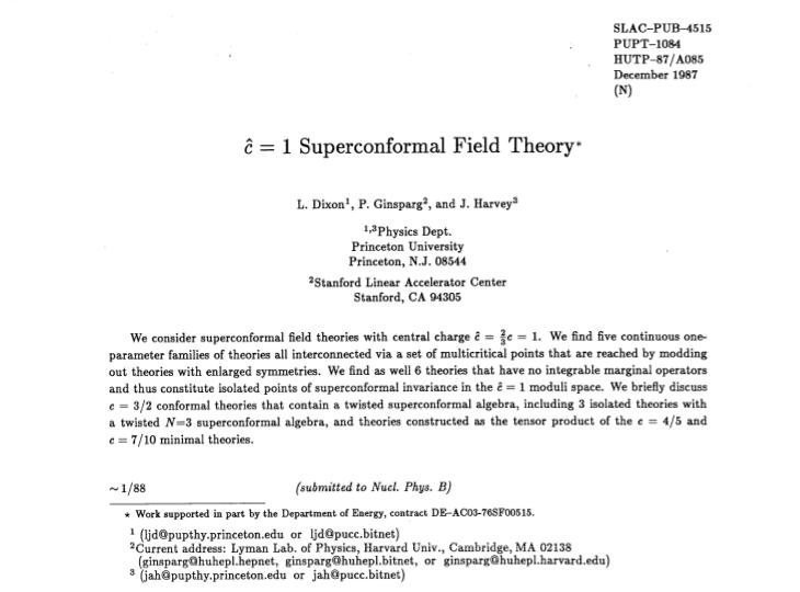 Prima pagina del lavoro di Dixon, Ginsparg e Harvey